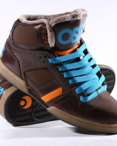 Кеды высокие с мехом Osiris Nyc 83 Shr Brown Orange Blue Shrearling