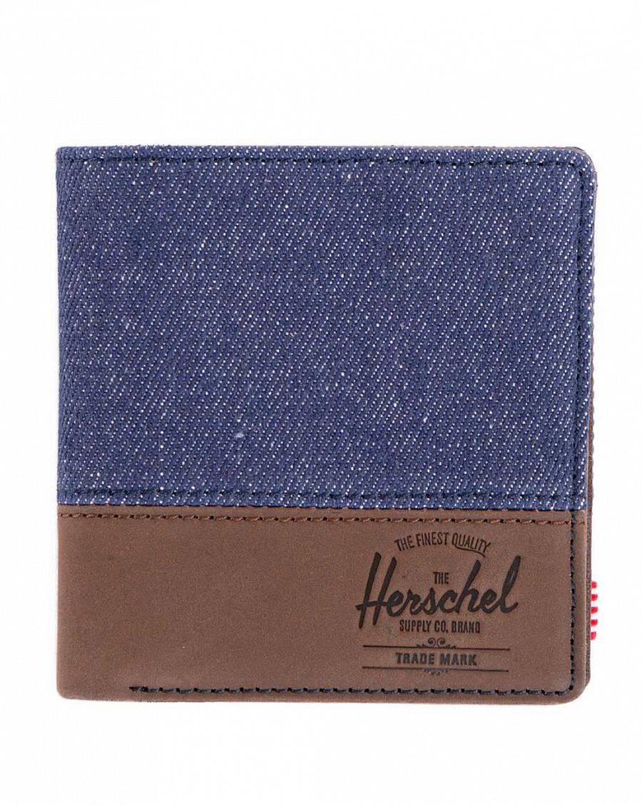 Кошелек Herschel Kenny Leather Indigo Denim Dark Brown Leather отзывы