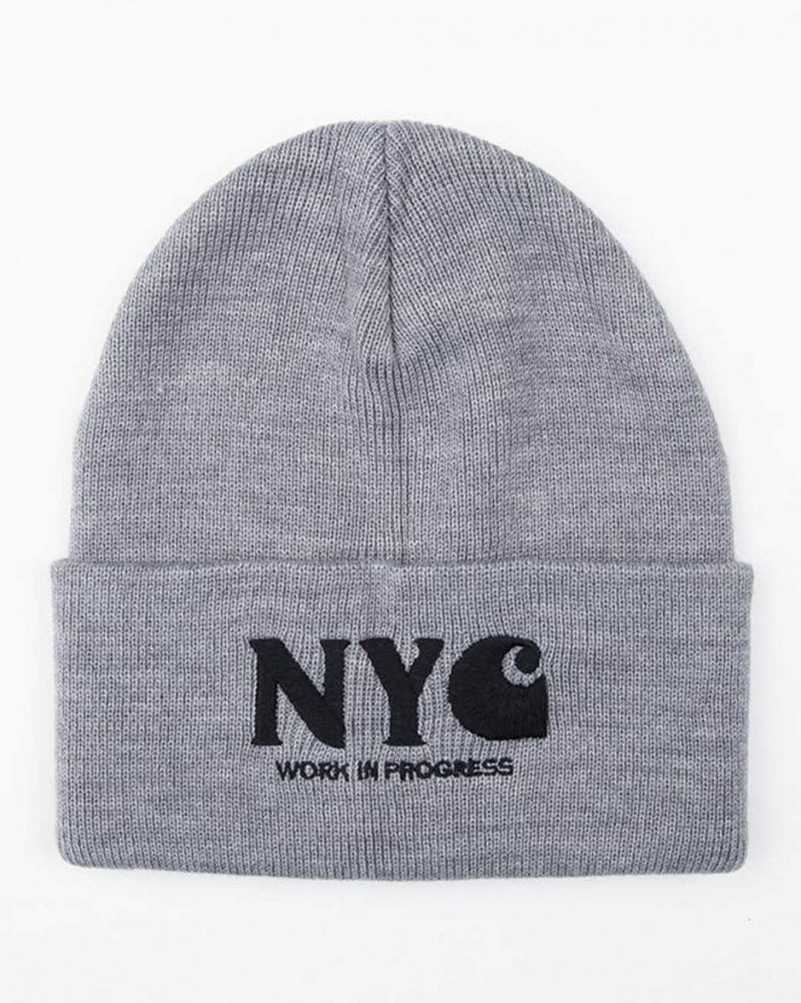 купить Шапка Carhartt WIP NYC Beanie Heather Gray Black в Москве