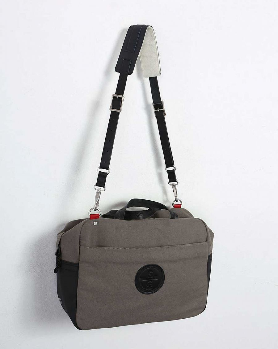 купить Сумка Stighlorgan Lennan Canvas Leather Laptop Bag grey black в Москве