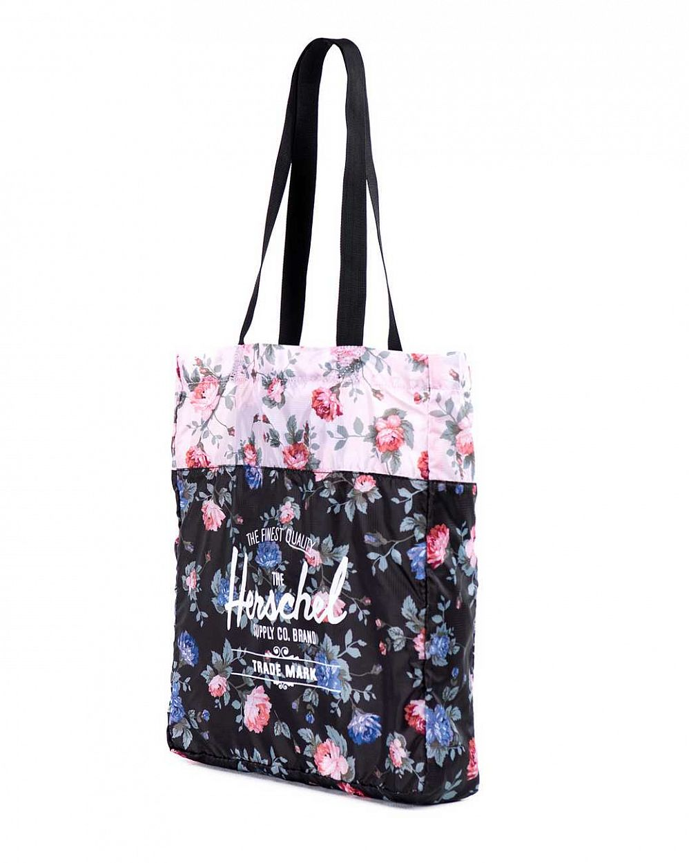 Сумка складная Herschel Packable Travel Tote Bag Black Floral Pink Floral цена в Москве
