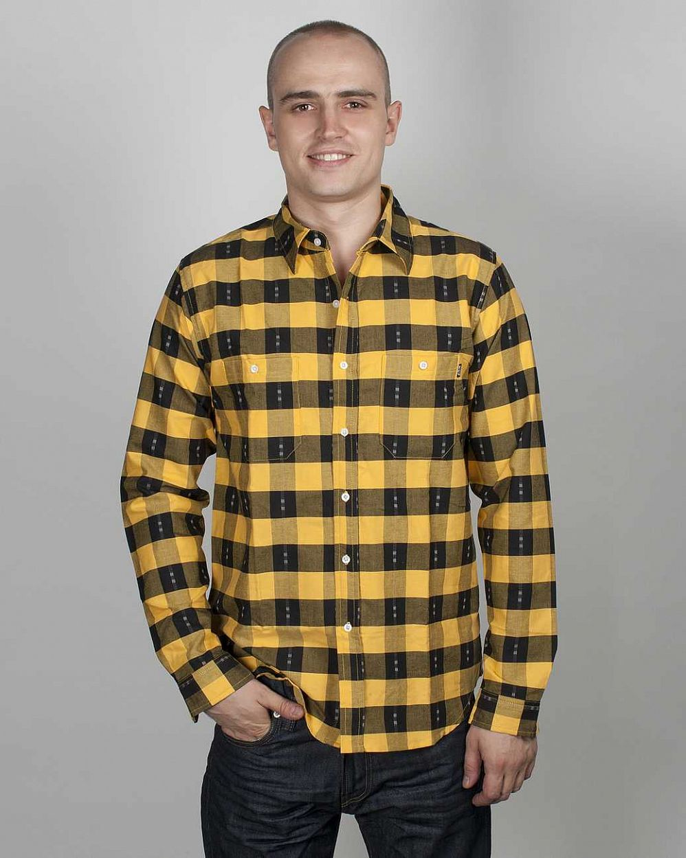 купить Рубашка HUF Chekerboard Yellow/black в Москве