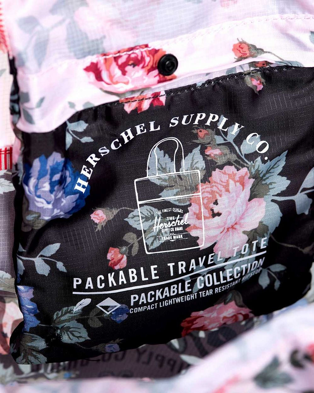 Сумка складная Herschel Packable Travel Tote Bag Black Floral Pink Floral интернет-магазин в Москве