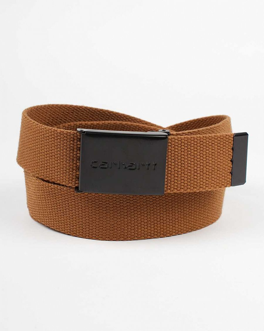 купить Ремень Carhartt WIP Clip Belt Chrome Black Brown в Москве