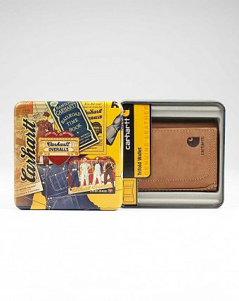 Кошелек кожаный Carhartt USA Trillfold Wallet Leather Yellow