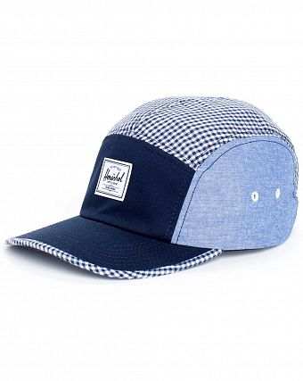Бейсболка 5 панелей летняя Herschel Supply Co Glendale Classic Navy Gingham