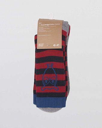 Носки Knowledge Cotton Apparel Jacob Tennis Sock 2-pack Red Grey