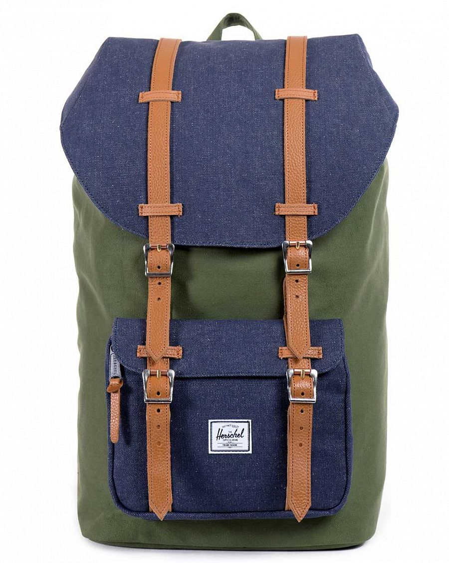 Рюкзак Herschel Little America Mid-Volume Dark Army Coated Cotton Canvas Indigo Denim отзывы