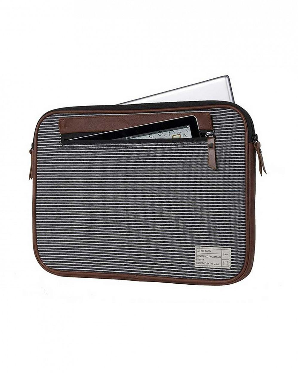 Чехол для ноутбука HEX Fleet MacBook Pro sleeve with IPad pocket Black Grey stripe цена в Москве