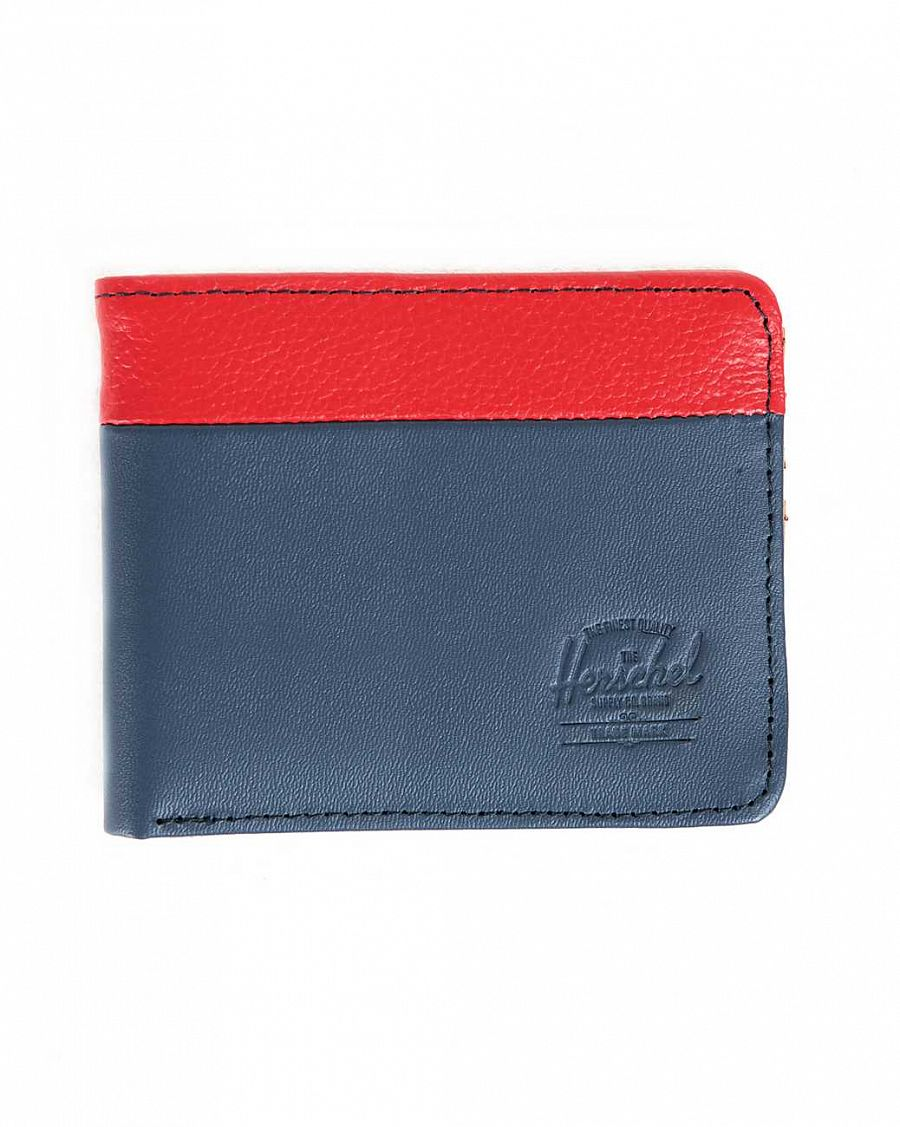 купить Кошелек Herschel Hank Leather Navy Smooth Leather Red Pebbled Leather в Москве