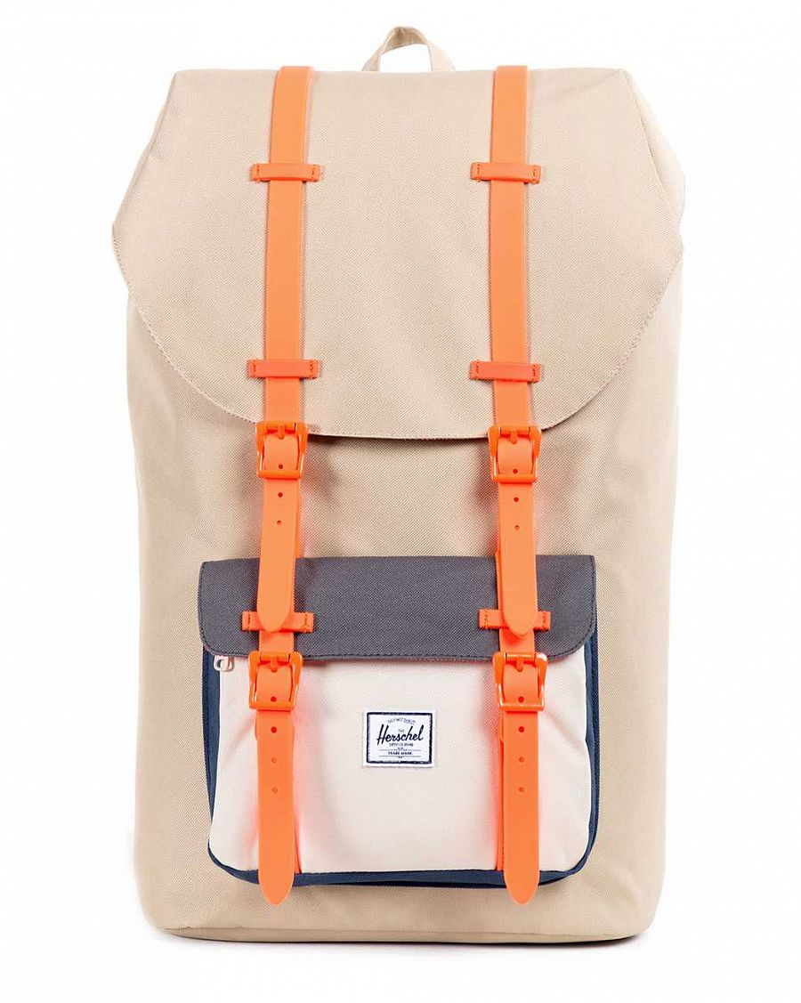 купить Рюкзак Herschel Little America Khaki Bone Charcoal Navy Neon Orange Rubber (Rope Drawcord) в Москве