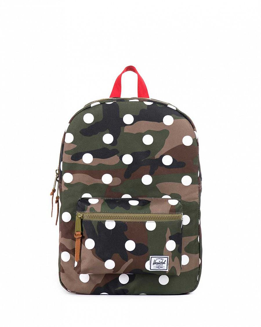 купить Рюкзак Herschel Settlements Youth Woodland Camo Polka Dot Red  (10075) в Москве