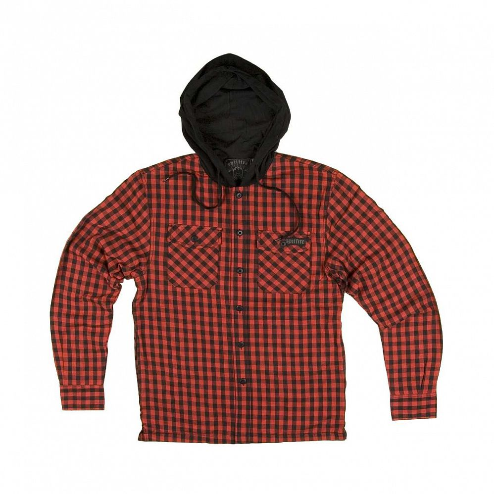 Ветровка Spitfire Biggerheat Button Up Hoods Black Red Checks отзывы